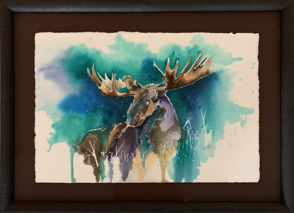 This original is professionally framed with an acid-free dark brown textured mat which brings out the rich colors of the painting.