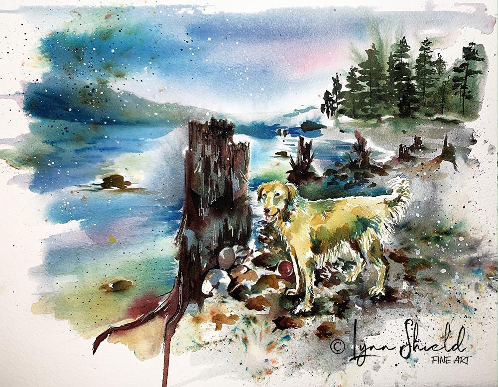 Lori's pup at the Lake